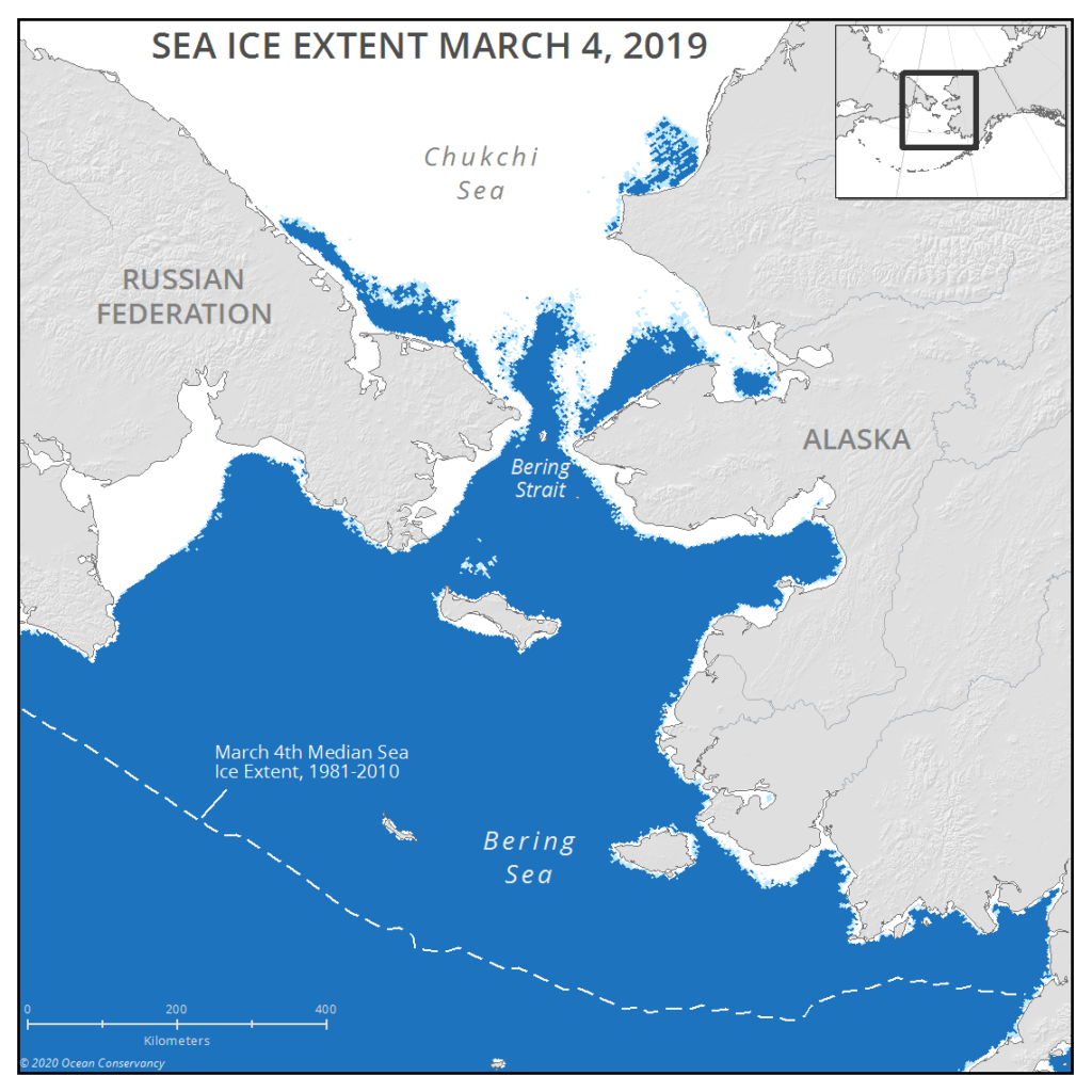 Bering Sea Ice 2019 March 4th sea ice extent