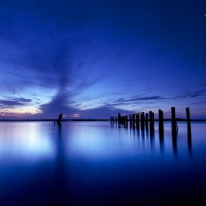 blue seascape at dusk